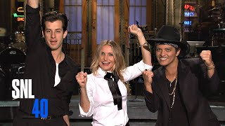 Cameron Diaz Guides Mark Ronson and Bruno Mars Through SNL Promos