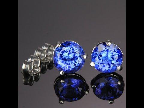 14K White Gold ROund Tanzanite Stud Earrings 3.13 Carats
