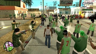Biggest Gang War in GTA San Andreas History! (100 Grove VS 100 Ballas)