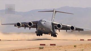 MIGHTY C-17 Globemaster III Landing/Takeoff On A Dirt Airfield