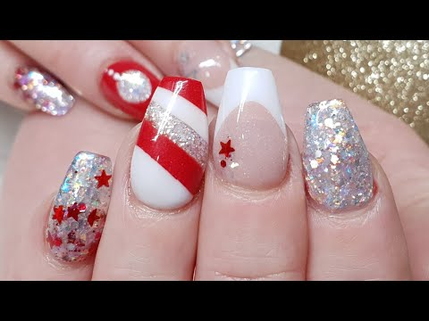 Christmas Geometric Nail Design - Embedded Glitter - The Glitter Fairy Limited