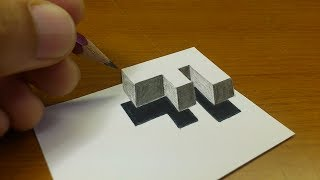 """Very Easy!! How To Drawing 3D Floating Letter """"F""""  - Anamorphic Illusion - 3D Trick Art on paper"""