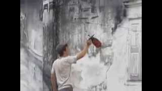 """""""Tin Mine Valley"""" Mural by Ernest Zacharevic."""