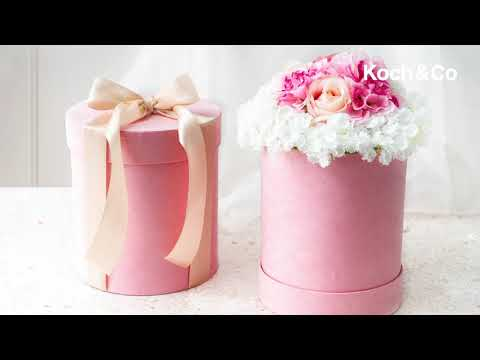 Hat Gift Box Deluxe Suede Pink Set 2 (20Dx22cmH)