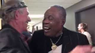 Keith Richards and Sam Moore at the Memphis Music Hall of Fame