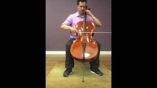 Colin demonstrates an artist level rental cello (Jay Haide) at Blackerby Violin Shop