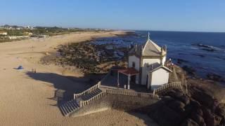 Miramar Church and Furadouro Beach, Portugal, aerial view with DJI Phantom 3
