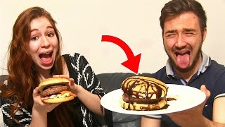 HAMBURGER XXL CHALLENGE en COUPLE !! Un BURGER POURRI A LA MORUE !