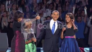 OBAMA FAMILY VICTORY WALK UP - CROWD GOES WILD!