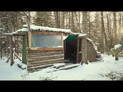 FIRST BIG SNOWFALL at  FORT IN THE WOODS Tarp and Pallet Door, Permanent Pothook, Huge Tree Removal.