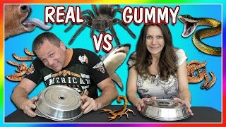 HORRIBLE REAL FOOD VS GUMMY FOOD CHALLENGE! | PARENTS EDITION | We Are The Davises