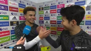 Dele Alli and Son share a laugh over MOTM award after 2-0 win at Leicester City