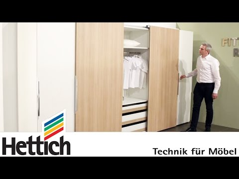 Technology for furniture in bedrooms: Hettich sliding door + drawer systems