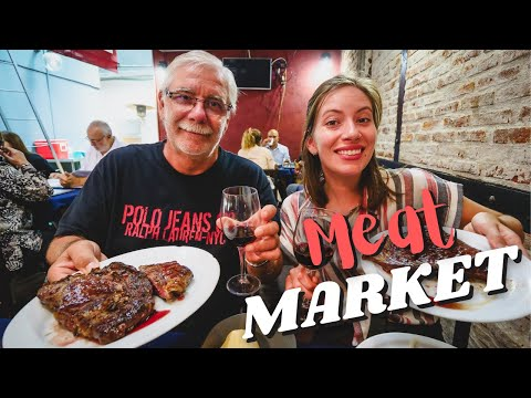 Uruguayan ASADO GRILL 🥩  | Eating BBQ at the MEAT MARKET (Mercado del Puerto) in Montevideo, Uruguay