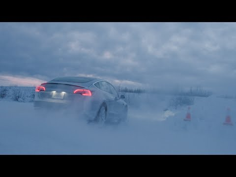 Model 3 at Tesla winter proving grounds