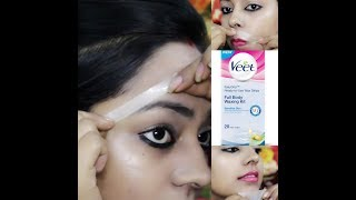 How To Wax Eyebrows & Facial Hairs At Home With VEET WAX  STRIPS Step By Step  IN HINDI width=