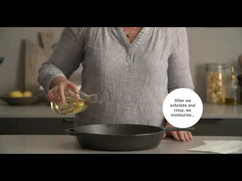 Video outlining how to clean a cast-iron skillet.
