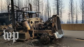 Trucks torched on California highway in Delta Fire