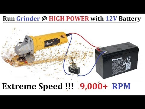 9000 RPM ! Run 220v Angle Grinder ( Power Tools ) at High Speed with 12v DC Supply ( UPS Battery )