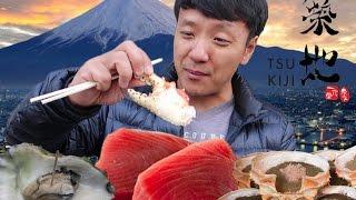 Japanese Street Food Tour of TSUKIJI Fish Market Tokyo Japan width=