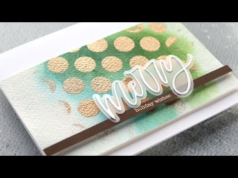 Holiday Card Series 2018 – Day 21 – Polka Dot Stencil Heat Embossing