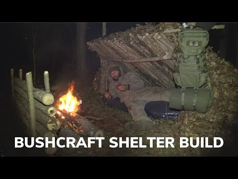 Bushcraft Overnighter Building a Lean To Shelter and Campfire Bacon Wrapped Kielbasa