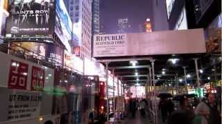 A walk around Times Square by night, New York