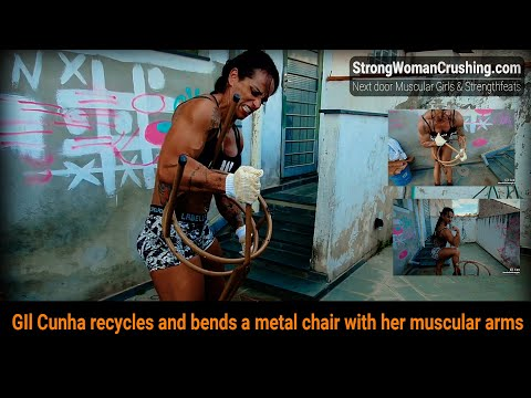 GIl Cunha recycles and bends a metal chair with her muscular arms