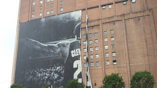 LeBron James Cleveland Banner Torn Down