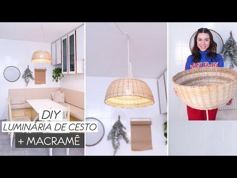 DIY Luminária Pendente c/ Cesto de Palha – Decorando a Cozinha 03