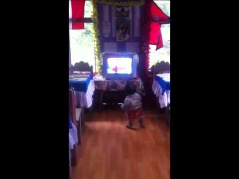 Little Nepalese girl dancing