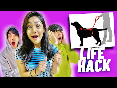 TRYING LIFE HACKS WITH MY BROTHER AND SISTER PART PATA NAHI   Rimorav Vlogs