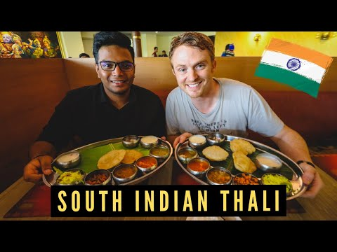 FOREIGNERS Try South Indian THALI for the FIRST TIME 🇮🇳 [Learning How to Eat Thali With Hands]