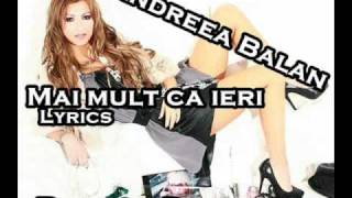 Andreea Balan ft. Bogdan Dima - Mai mult ca ieri (lyrics)