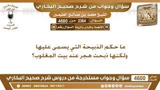 2364 - 4600 ما حكم الذبيحة التي يسمى عليها ولكنها ذبحت هجر عند بيت المغلوب؟ ابن عثيمين