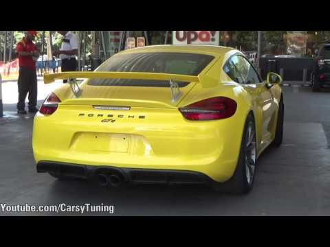 Racing Yellow Porsche Cayman GT4 - Acceleration Sound