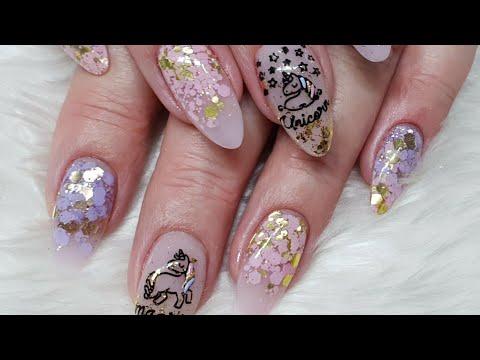 Unicorn Nails - Acrylic Redesign - Stamping - Matter Glitter