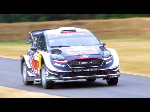 WRC driver Elfyn Evans in the M-Sport Fiesta rally car at Goodwood FOS 2018