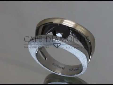 Split band,black diamond in the middle,platinum,engagement ring