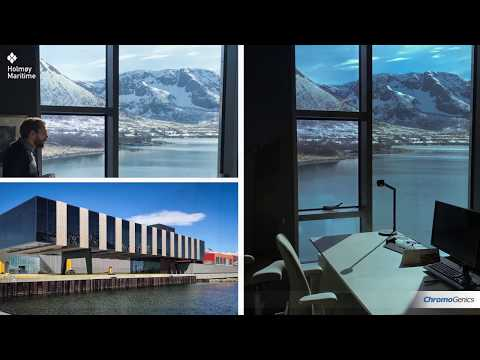 At the administrative office of Holmøy Maritime AS, ConverLight® dynamic glass offers daylight and uninterrupted views of the Norwegian fjords while reducing both unwanted solar heat radiation and glare.