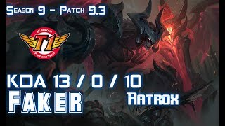 SKT Faker AATROX vs ORIANNA Mid - Patch 9.3 KR Ranked