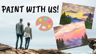 Paint with us! Following a Bob Ross Paint Tutorial with my Boyfriend | Life with Riss