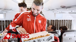 Swiss national football players on board SWISS for big surprise