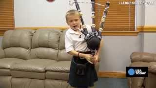 Self-taught 7-yr-old shocks family with bagpipe skills