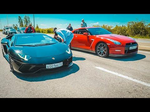 Чьи ПОНТЫ КРУЧЕ?  Nissan GT-R vs Lamborghini AVENTADOR. ЧЕРНОЕ ЗЛО!