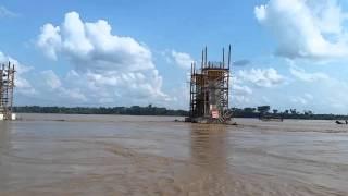 Ponte Abunã - Situação dos pilares na primeira cheia 2016
