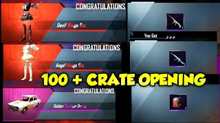 PUBG MOBILE 100 + CRATE OPENING || ANGLE AND DEVIL METHIC OUTFITS || MEGA CRATE OPENING