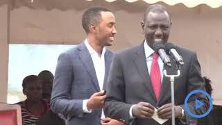 President's Son Muhoho Kenyatta struggling to read kiswahili in Nandi County