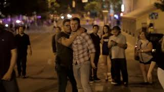 Crazy white boys street fight outside club HD