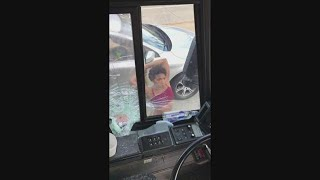 CRAZY VIDEO: Woman smahes Greyhound bus window, tries to run over man